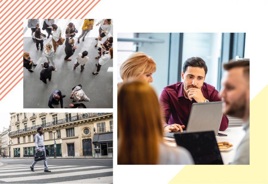 Trois photos avec, un groupe de personne, un homme qui marche dans la rue et un homme et une femme devant un ordinateur