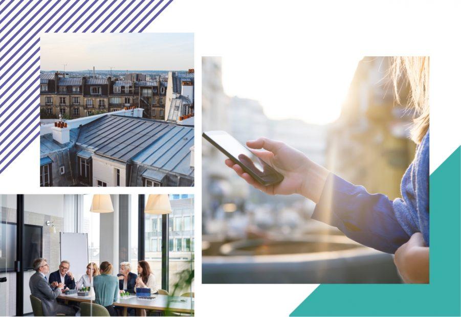 Trois photos avec, les toits de Paris, un groupe de personne autour d'une table et une main utilisant un téléphone portable