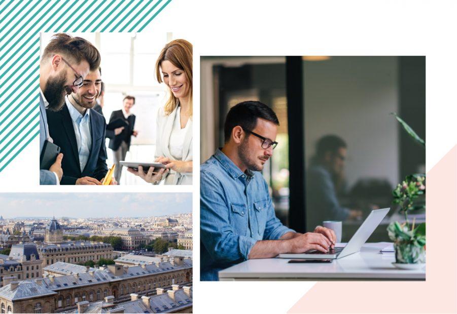 Trois photos avec, trois personnes devant une tablette, un homme devant un ordinateur et les toits de Paris